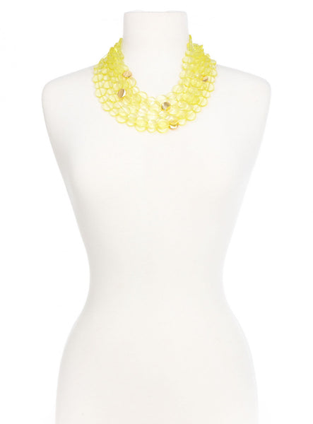 Clear Mod Bib Necklace yellow