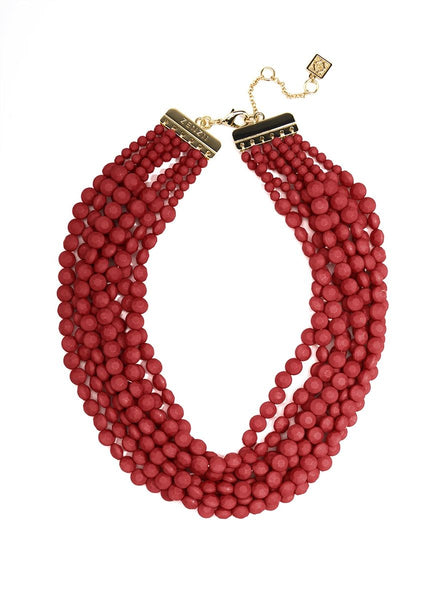 beaded matte red necklace