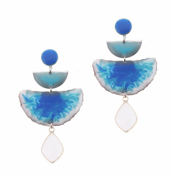 Nakamol Blue Moonstone Geometry Shape Earrings
