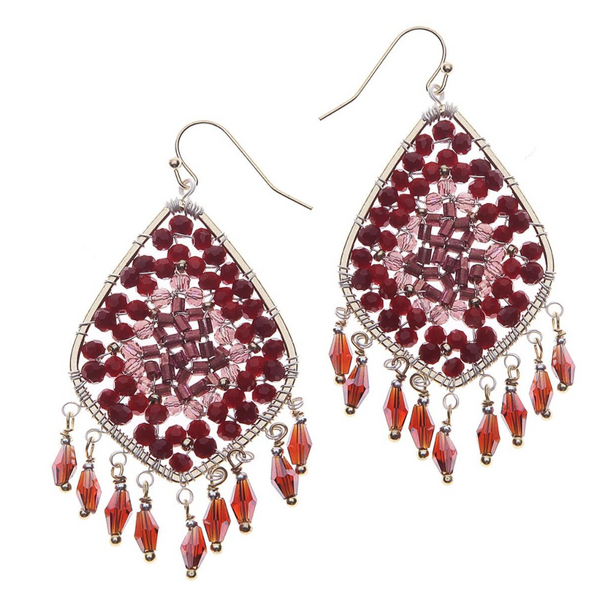 Nakamol Garnet Czech Crystals Teardrop Earrings