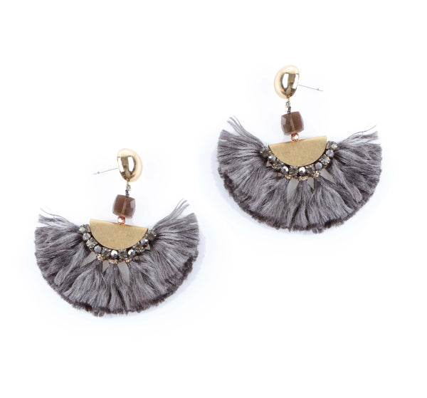 Nakamol Glam Fringe Earrings in Gray