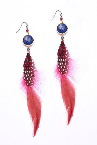Nakamol Lapis Drop Feather Earrings
