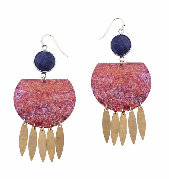 Nakamol Lapis Mix Enamel Drop Earrings