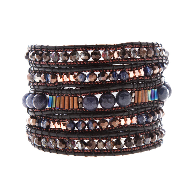 Nakamol Wrap Bracelet of Blue and Brown Mix