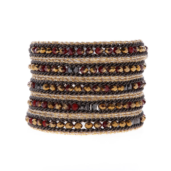 Nakamol Wrap Bracelet of Red and Gold Mix