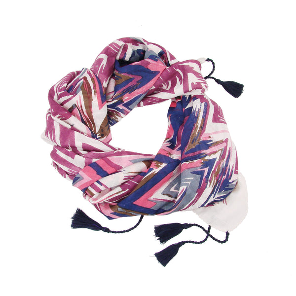oblong Flamestitch Scarf Pink