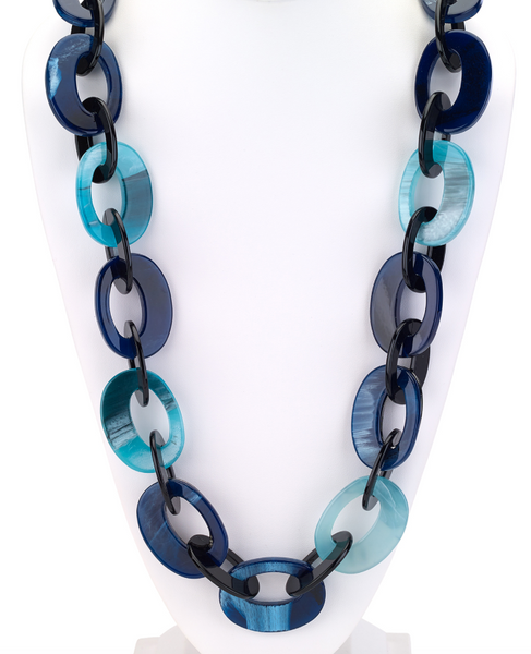 Ocean Chunky Resin Links Long Necklace