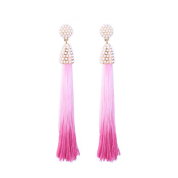 Ombre Tassel Earrings pink