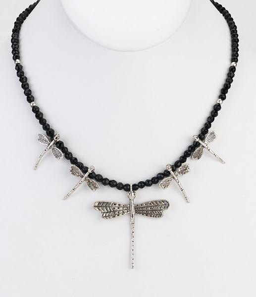 Onyx Dragonfly Necklace