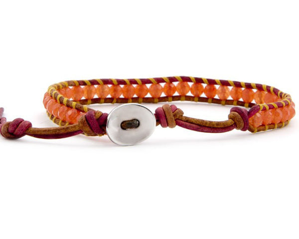 One Row Orange Beaded Wrap Bracelet