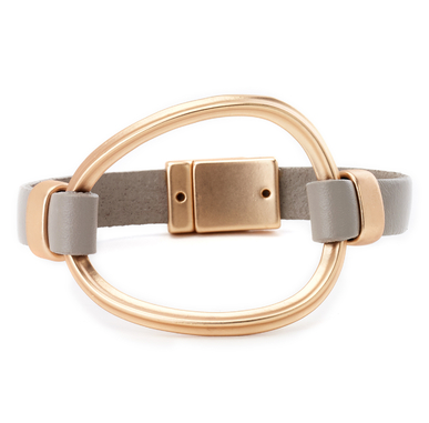 Oval Cuff Leather Bracelet gold