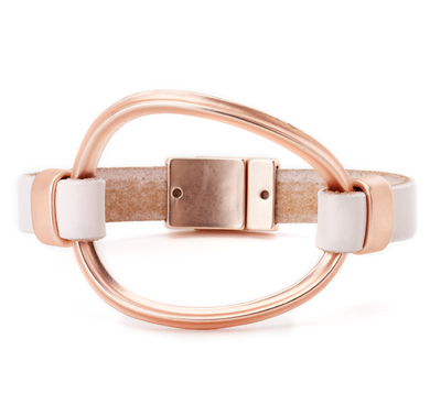Oval Cuff Leather Bracelet rose gold