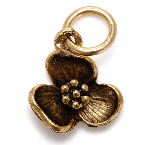 Pansy Flower Charm Pendant gold
