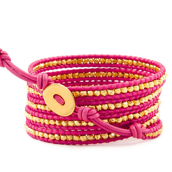 Pink and Gold Wrap Leather Bracelet back