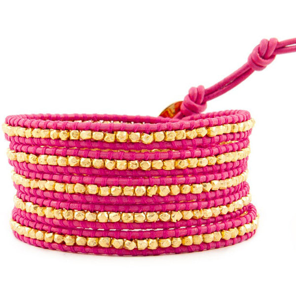 Pink and Gold Wrap Leather Bracelet front