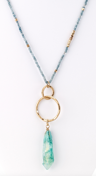 Raw Crystal Pendant Beaded Long Necklace