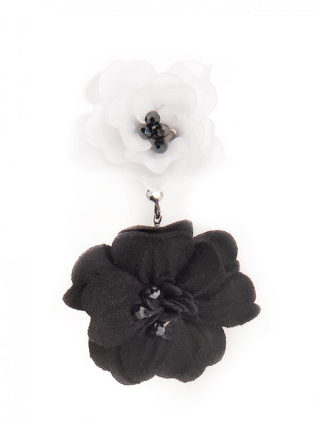 Realistic Floral Drop Earrings black