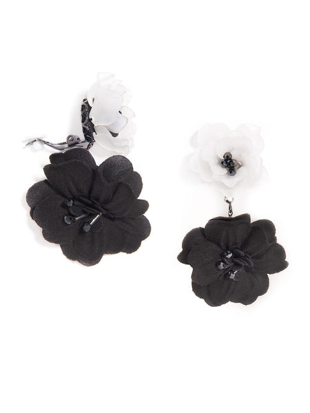 Realistic Floral Drop Earrings black clip-on
