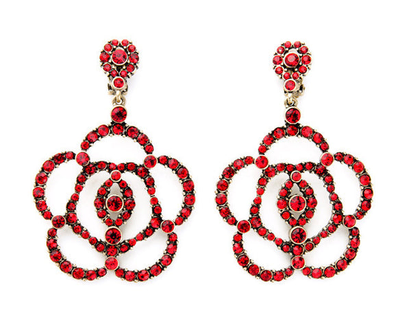 Red Crystal Flower Earrings