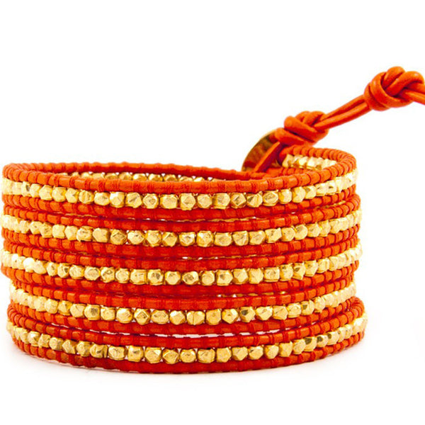 Red and Gold Wrap Leather Bracelet front
