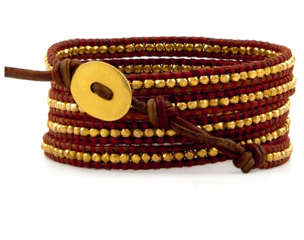 Crimson Red Leather Wrap Bracelet