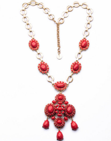 Red Long Statement Necklace