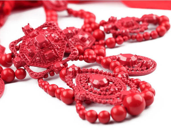 red fashion statement necklace