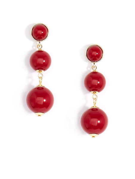 resin drop earrings red
