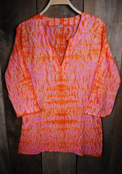 Shibori Dyed Tunic Orange and Pink