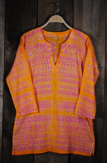 Shibori Dyed Tunic Orange