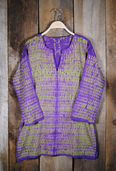 Shibori Dyed Tunic Purple