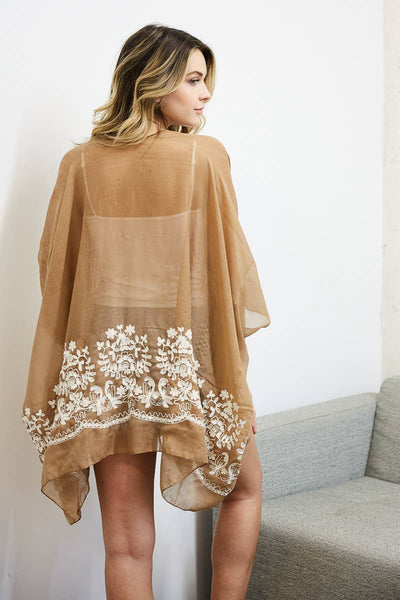 Floral Embroidered Stitch Short Kimono