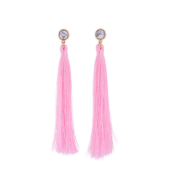 Shoulder Duster Tassel Earrings pink