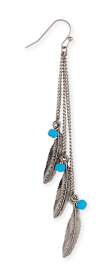 Feather and Bead Linear Earring silver