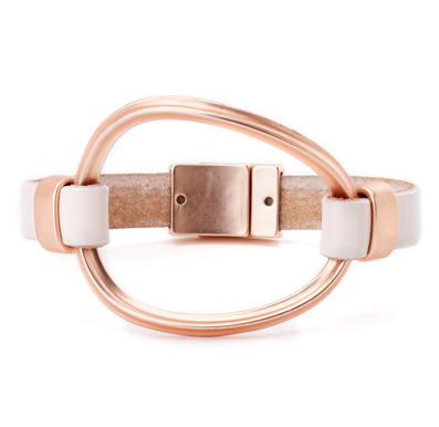 Single Strand Leather Bracelet with Large Oval Cuff rose gold