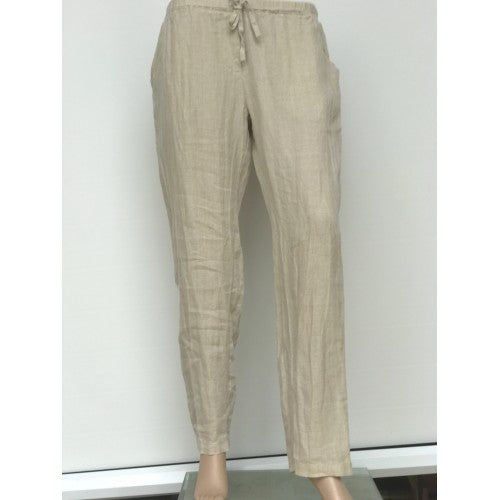 Slim Cut Linen Pants beige