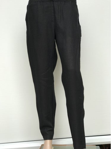 Slim Cut Linen Pants black