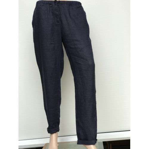Slim Cut Linen Pants navy