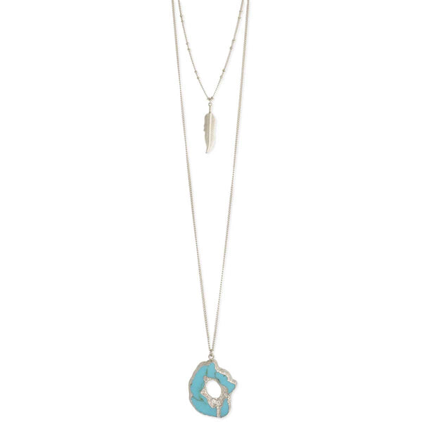 Silver Feather & Turquoise Layer Necklace