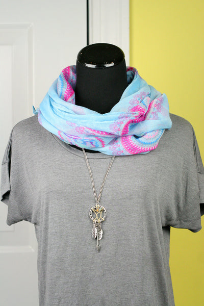 spiral scarf oblong style in blue