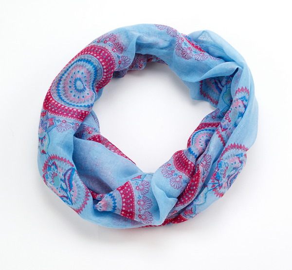 Spiral Scarf infinity blue
