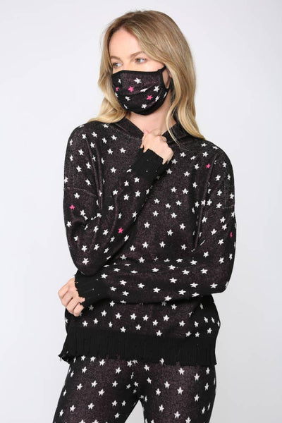 Star Print Hooded Sweater Matching Mask