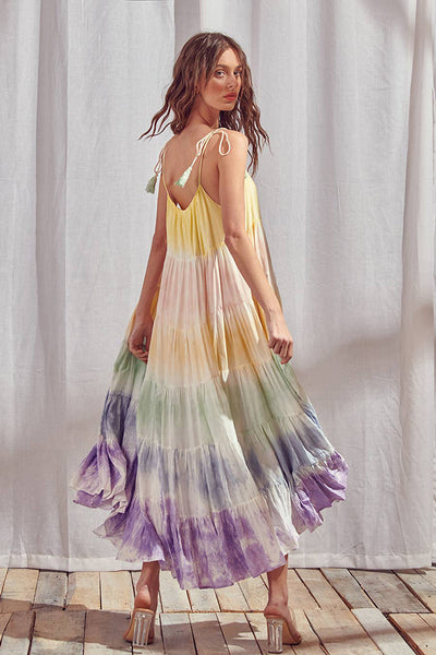 Dresses - Storia Rainbow Tie-dye Color Block Maxi Dress - Girl Intuitive - Storia -