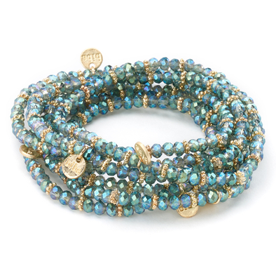 Stretch Beaded Bracelet with Gold Charms blue