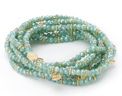 Stretch Beaded Bracelet with Gold Charms green