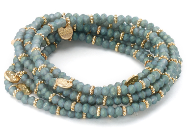 Stretch Beaded Bracelet with Gold Charms grey