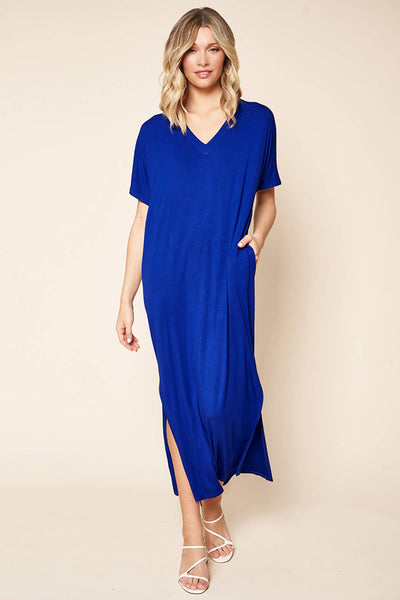 Dresses - Sugarlips Blanca Jersey Draped Maxi Dress - Girl Intuitive - Sugarlips - S / Blue