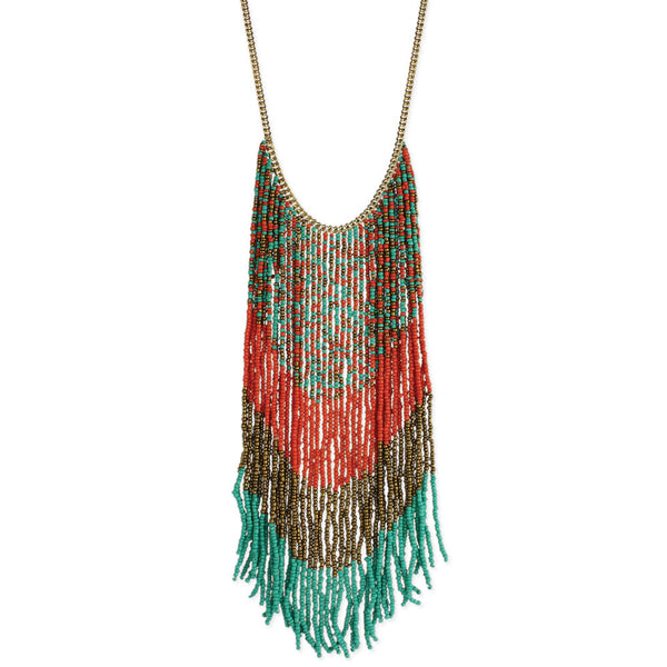 Beaded Long Fringe Necklace