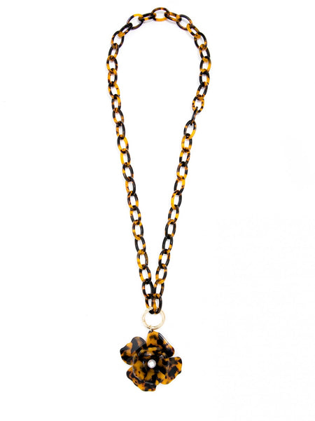 Tortoise Blooming Necklace long brown