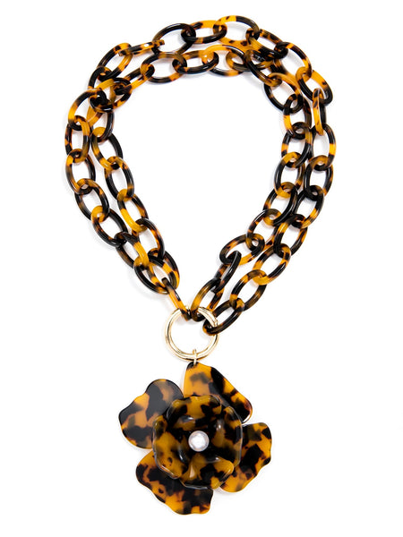 Tortoise Blooming Necklace short brown